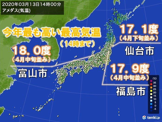 仙台や富山など今年最も高い気温 北には寒気流入