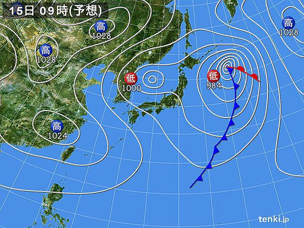 15日(日)夜~16日(月)朝 真冬並みの寒気流入 日本海側は雪