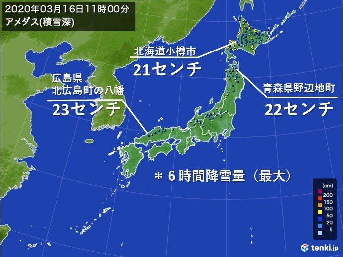 日本海側など 6時間に20センチ以上の降雪
