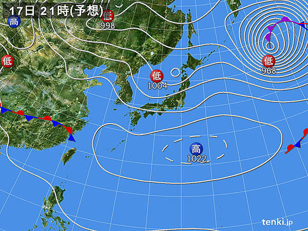 17日(火) 九州から関東を中心に日差したっぷり