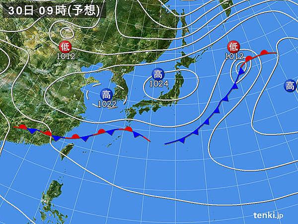 30日(月)~31日(火) 雲が広がりやすい 次第に雨に