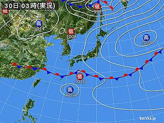 30日 全国的に雨 北は局地的に雷雨