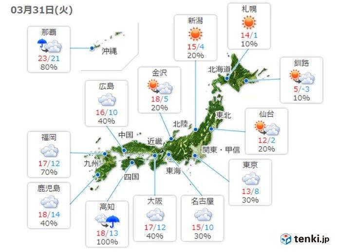 31日 関東以西すっきりしない天気 夜は雨雲広がる