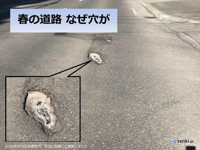 北海道 雪がとけると道路に穴が