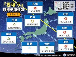 今夜「きぼう(ISS)」が見える 太平洋側ほど晴れる所多い