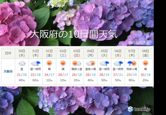 近畿 雨の季節が近づいてきました