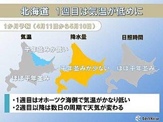北海道の1か月 1週目は気温が低めに