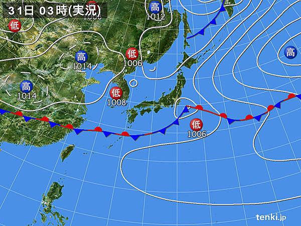 31日 広く大気不安定 落雷や突風に注意