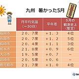 九州各地 暑かった5月