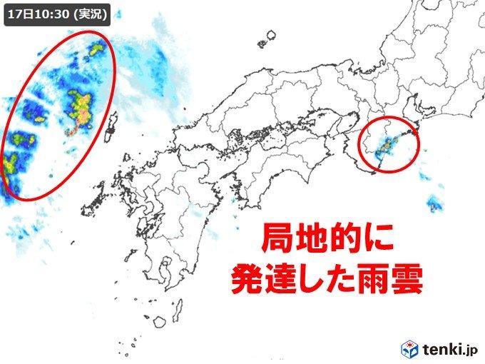 三重県で局地的に激しい雨 西からは活発な雨雲が迫る