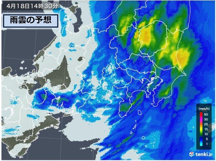 東海や関東で雨風ピーク
