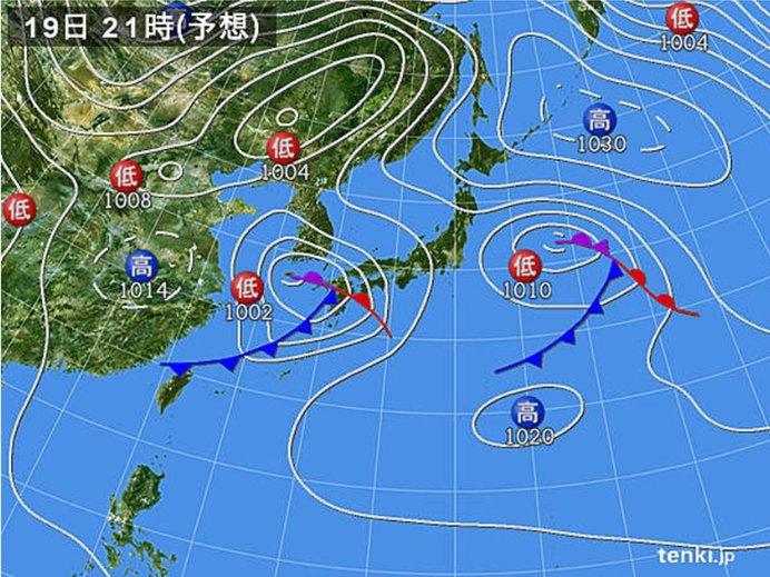 19日(日)の天気 近畿から九州と沖縄 午後から夜は雨や雷雨 激しく降る所が