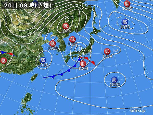 20日(月) 東海付近に発達した雨雲かかる