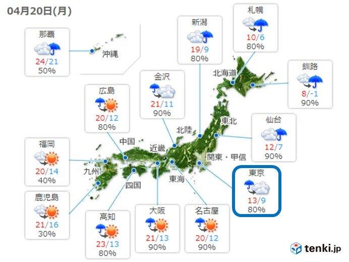 関東 初夏の陽気から一転 気温急降下