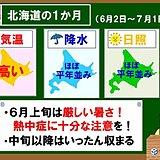 北海道1か月 厳しい暑さのちおさまる