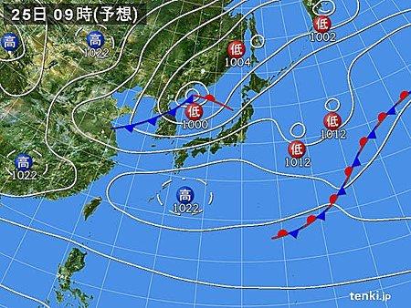 25日(土)日本海側北部中心に雷様 太平洋側南部中心にお日様登場