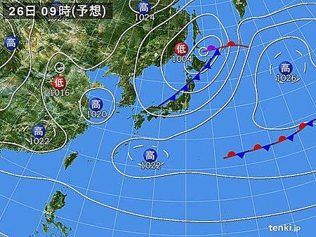 26日(日)雷様が日本海側を南下 午後は北部から天気回復