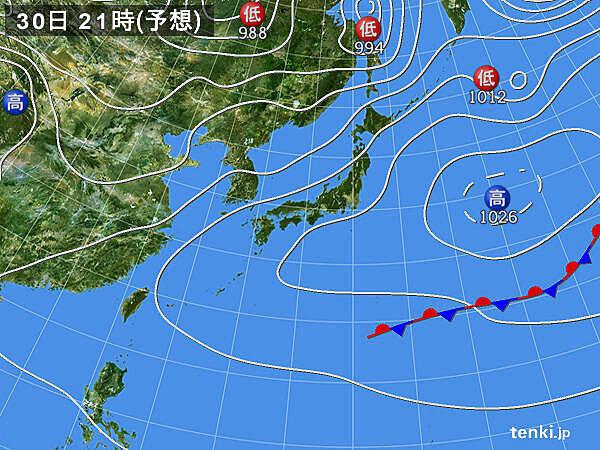 30日(木) 日本付近に暖気流れ込む