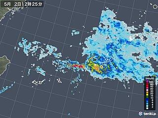 沖縄に発達した雲 非常に激しい雨・落雷・突風に注意