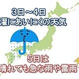 3日~4日は曇りや雨 5日は晴れるが天気急変に注意