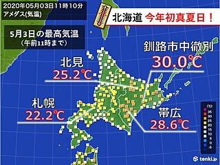 北海道 記録的早さで初真夏日に