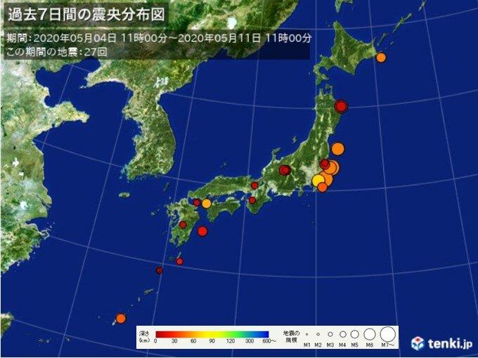 ここ一週間の地震回数 関東周辺で地震相次ぐ