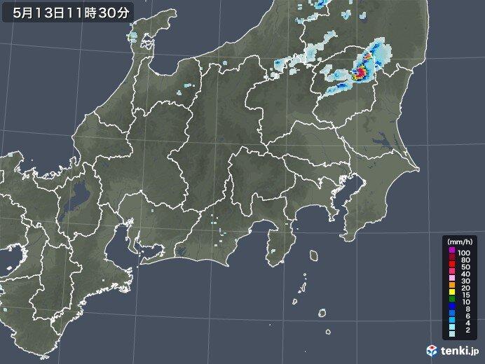 関東 北部で雨雲発生 このあと沿岸部に雨雲広がる