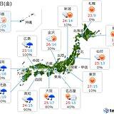15日 西から雨 激しく降る所も 関東周辺は暑さ続く