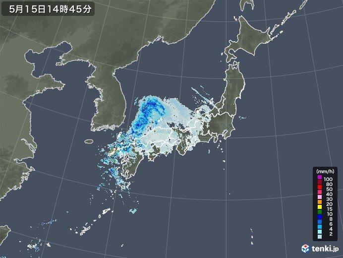 西日本に雨雲かかる 九州は非常に激しい雨や雷雨に