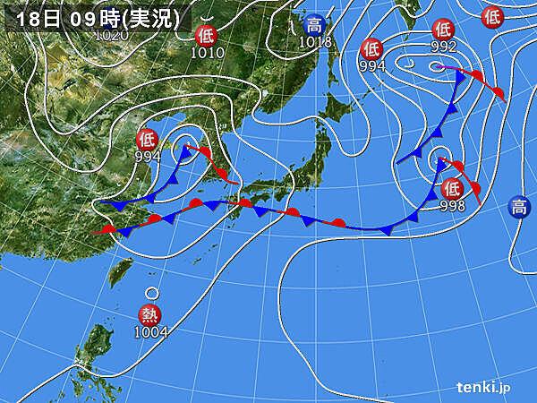 18日 沖縄や九州地方で雨雲発達 次第に東へ