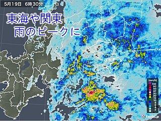 19日 東海や関東でザーザー降り 午後も急な雨に注意