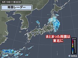 まとまった雨雲は東北に 雨量100ミリ超の所も