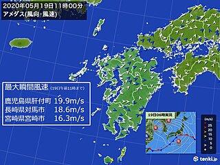 九州 19日 西よりの強風、高波に注意
