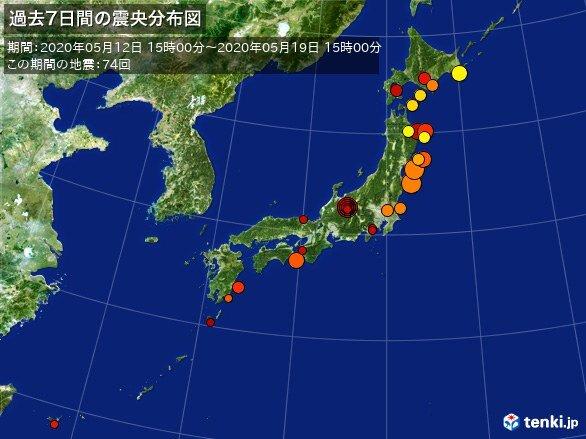 1週間の地震回数 ここ3日間で震度4が4回発生