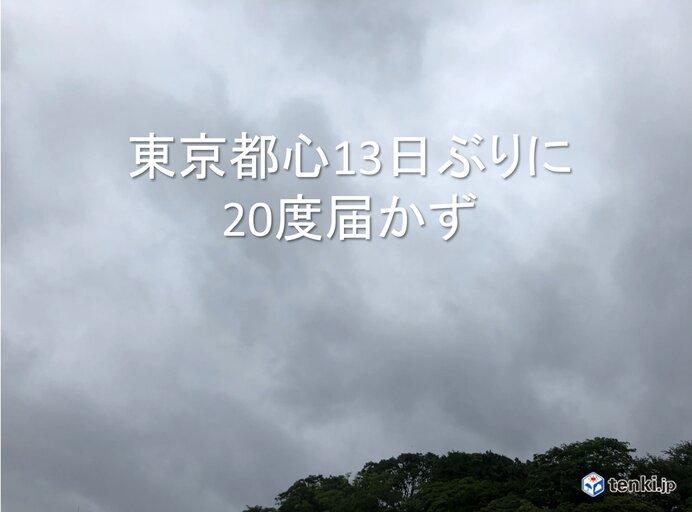 東京都心 13日ぶりに20度届かず ヒンヤリ