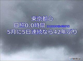 東京都心 5月に5日連続で日照0.0時間 42年ぶりに