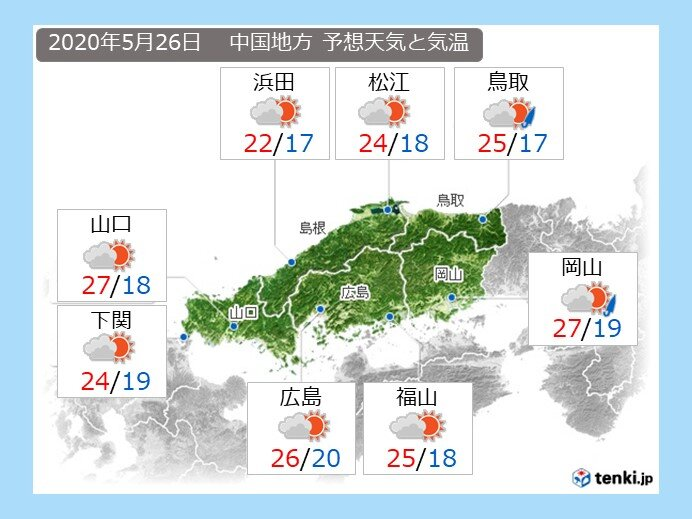 あすの午後は、東部ほど雨の可能性あり
