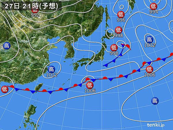 27日(水) 東北を中心に急な強い雨・落雷・突風に注意