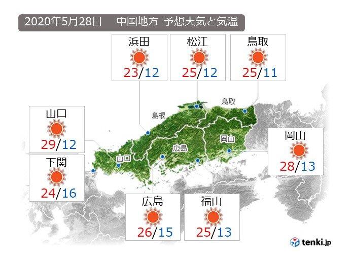 あすは、中国地方全般に晴れて、洗濯日和