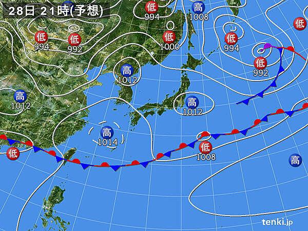 28日(木)日差したっぷり 関東付近は天気の急変に注意