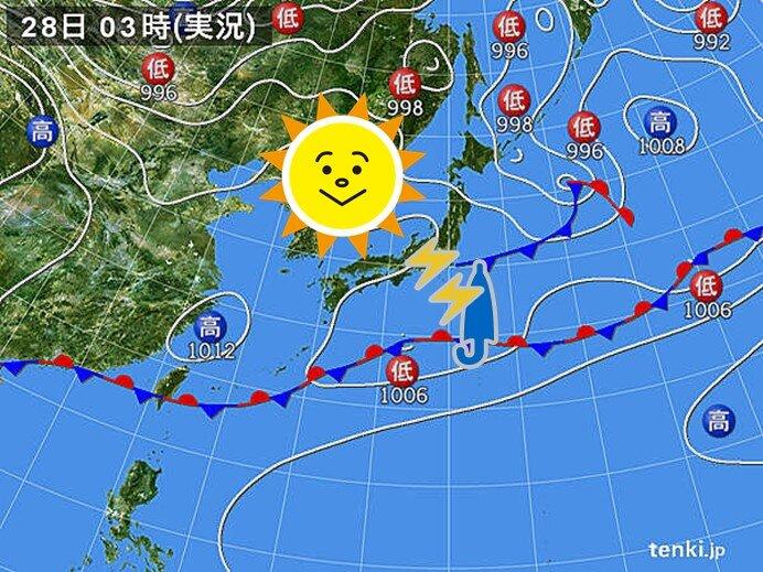 28日 カラッとした暑さ30度予想も 関東はにわか雨