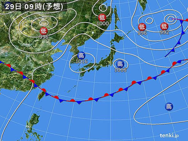 29日(金)~30日(土) 晴れる所が多い 関東付近は天気急変に注意
