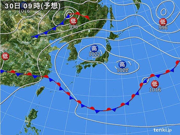 広く晴れ 北海道も暑くなる