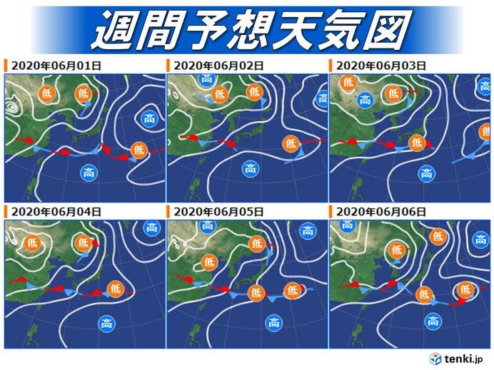 来週にかけて梅雨前線は本州付近に