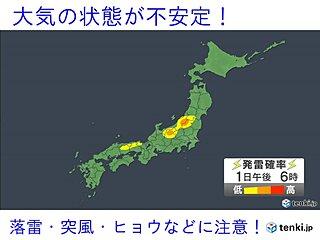 1日 九州から東北で雨雲発達 激しい雨やヒョウの恐れ