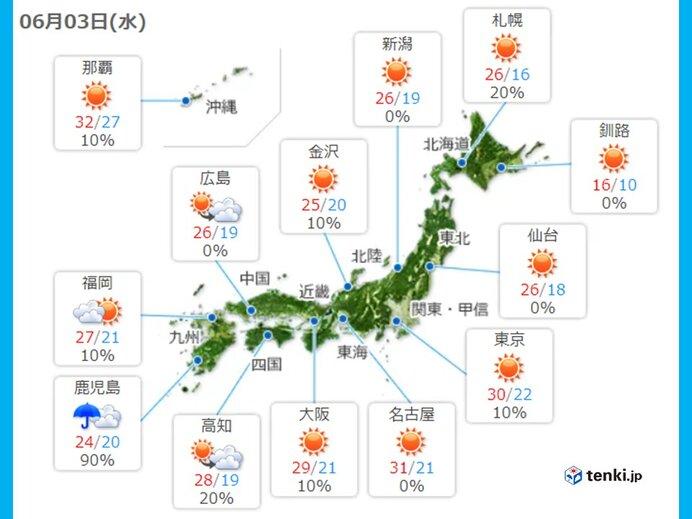 3日 九州南部大雨のおそれ 暑さ続く 関東周辺 急な強雨、落雷も