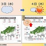 中国地方 午後もくもり空、あすから晴れて汗ダラダラ
