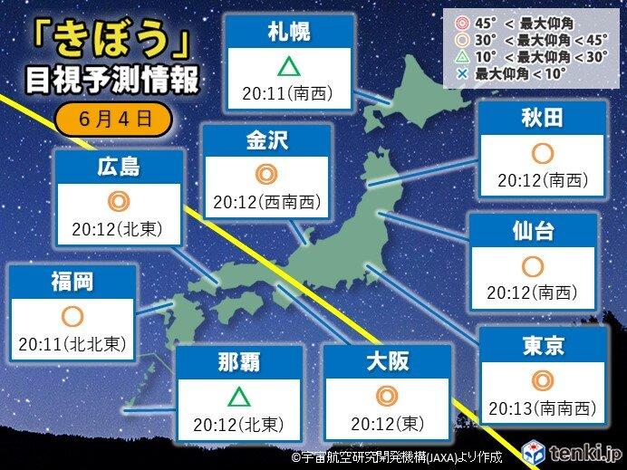 今夜も「きぼう(ISS)」観測のチャンス 本州の広い範囲で