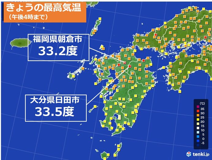 大分・福岡で最高気温33度台 あすも熱中症に警戒