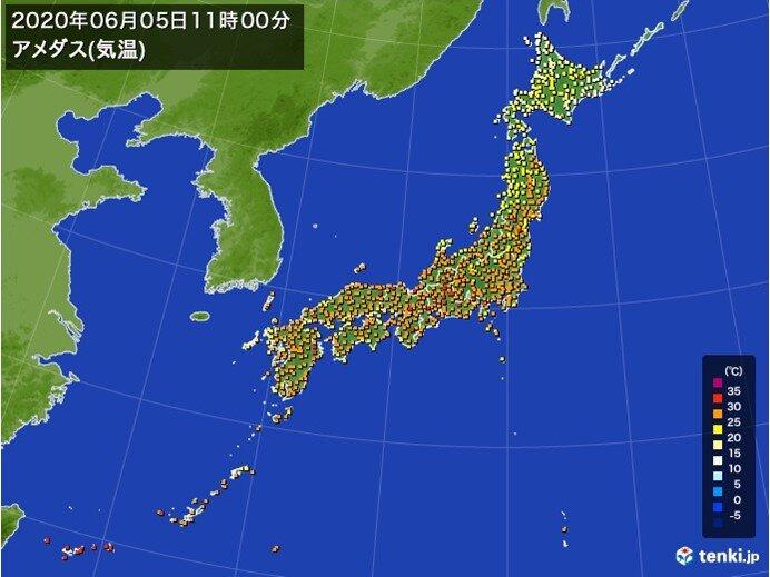 気温上昇中 すでに福岡など30℃以上は78地点 東京都心も真夏日に迫る